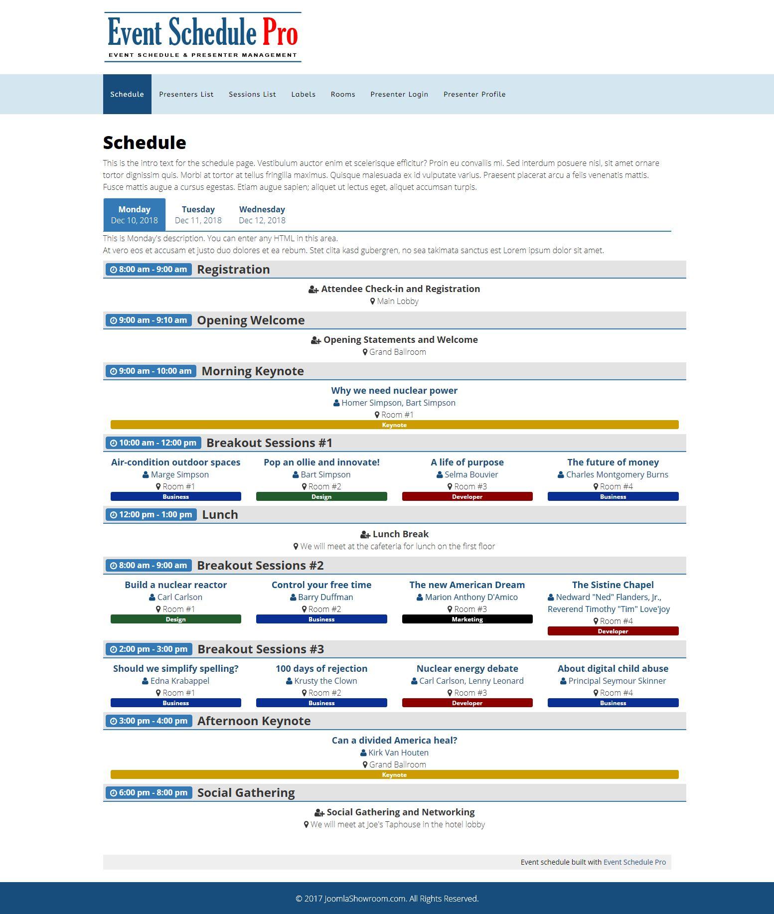 event schedule pro joomla showroom
