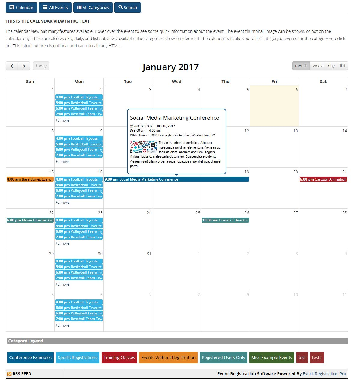 Event Registration Pro Calendar